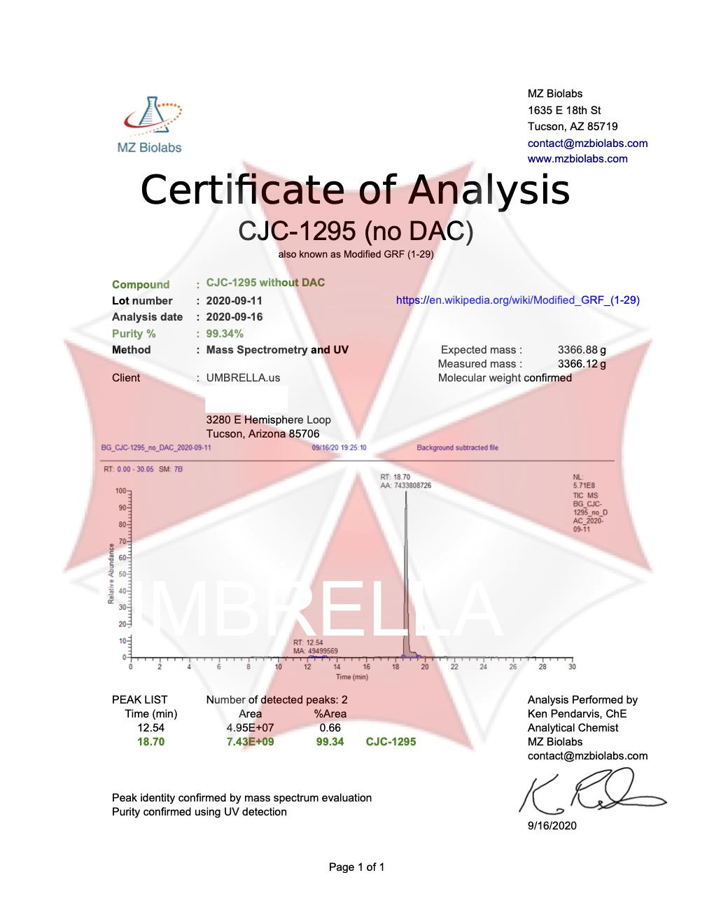 CJC-1295 NO DAC PEPTIDE 2MG VIAL
