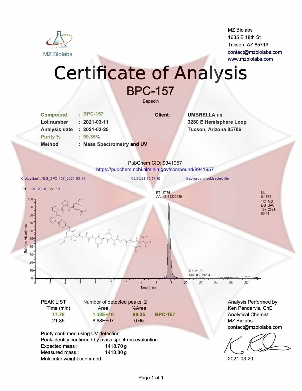 BPC-157 certificate